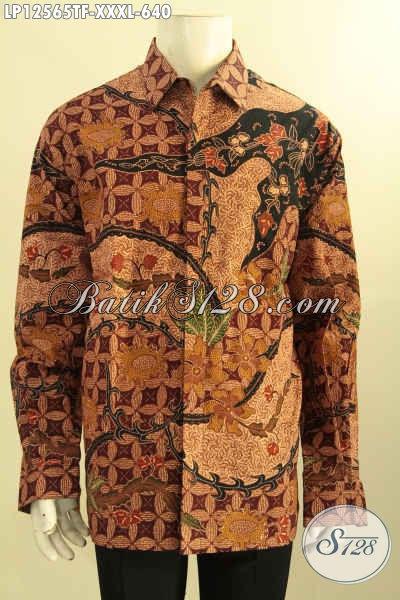 Jual Kemeja Batik Pria Lengan Panjang Mewah Nan Istimewa Daleman Full Furing, Baju Batik Berkela Motif Bagu Jenis Tulis, Spesial Bagi Meraka Yang Berbadan Gemuk [Lp12565TF-XXXL]