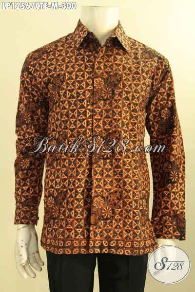 Kemeja Batik Motif Klasik Buatan Solo, Busana Batik Halus Model Lengan Panjang Pakai Furing, Pas Untuk Acara Resmi Maupun Kondangan Jenis Cap Tulis [LP12567CTF-M]