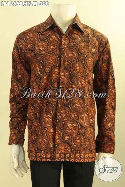 Kemeja Batik Elegan Pria Muda Model Lengan Panjang Motif Klasik, Busana Batik Solo Jenis Cap Tulis Kwalitas Bagus Harga Terjangkau [LP12568CTF-M]