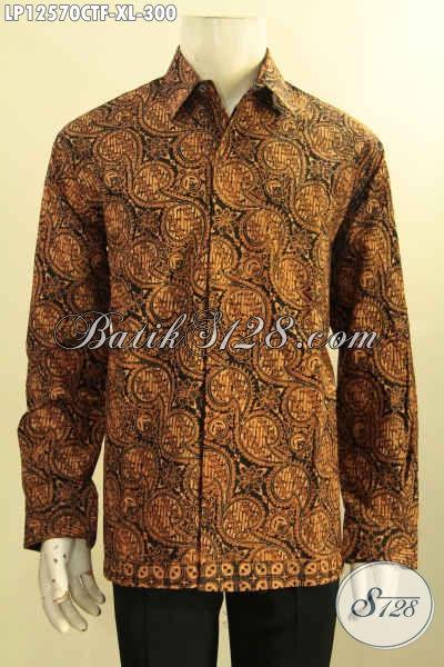 Koleksi Baju Batik Modern Lengan Panjang Nan Mewah Khas Solo, Busana Batik Bagus Full Furing Untuk Lelaki Dewasa Tampil Berwibawa [LP12570CTF-XL]