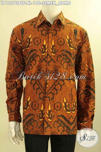 Produk Baju Batik Istimewa Motif Klasik Semen Romo, Kemeja Batik Solo Elegan Lengan Panjang Nan Berkelas Daleman Full Furing Hanya 100 Ribuan Saja [L12573BTF-XL]