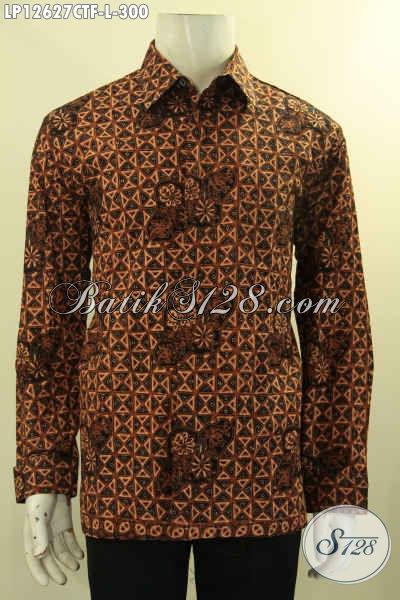 Jual Kemeja Batik Pria Lengan Panjang Halus Motif Klasik, Busana Batik Pria Tren Masa Kini Jenis Cap Tulis, Cocok Untuk Acara Resmi [LP12627CTF-L]