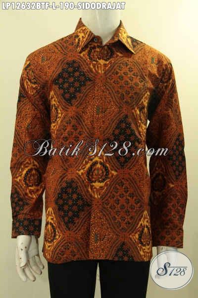 Kemeja Batik Pria Lengan Panjang Full Furing Khas Solo, Busana Batik Formal Desain Mewah Motif Klasik Sidodrajat Untuk Kondangan Dan Acara Resmi [LP12632BTF-L]