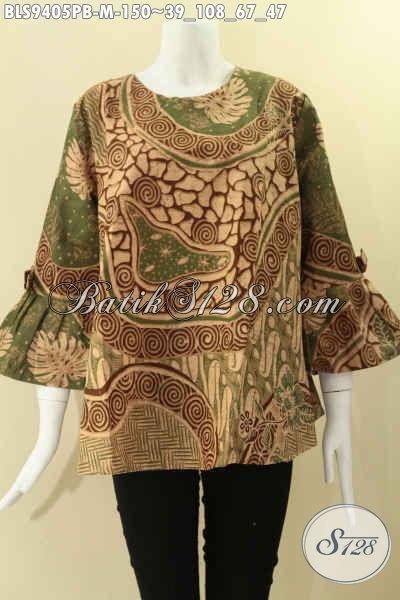 Blouse Batik Modern Wanita Muda Masa Kini, Hadir Dengan Model Kancing Belakang Lengan 7/8 Berpita Modis Untuk Acara Resmi Maupun Santai Motif Elegan [BLS9405PB-M]