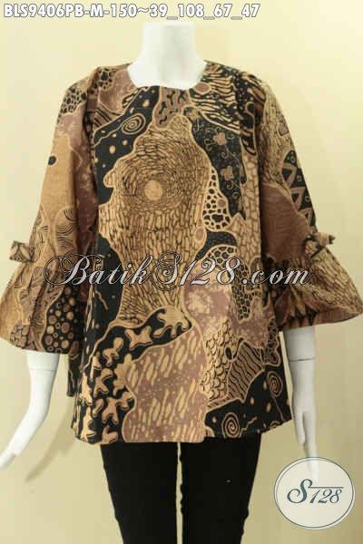 Jual Blouse Batik Wanita Terkini Model Kancing Belakang, Baju Batik Perempuan Terbaru Lengan 7/8 Dan Berpita Untuk Penampilan Lebih Stylish [BLS9406PB-M]