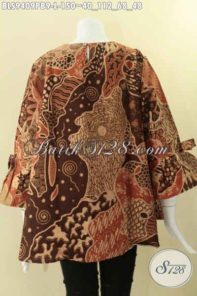 Baju Batik Blouse Modern Model Terkini Kancing Belakang Bahan Halus Motif Bagus, Pakaian Batik Wanita Khas Yang Banyak Di Pakai Kerja Dan Acara Resmi Lengan 7/8 Berpita [BLS9409PB-L]