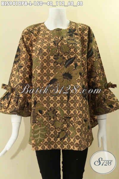 Blouse Batik Lengan 7/8, Busana Batik Wanita Model Kancing Belakang Dan Berpita Di Bagian Lengan Hanya 100 Ribuan Saja [BLS9410PB-L]