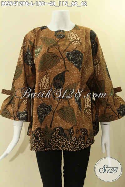 Baju Batik Kerja Nan Modis Bahan Halus, Blouse Batik Solo Jawa Tengah Motif Elegan Model Kancing Belakang Lengan 7/8 Berpita [BLS9412PB-L]