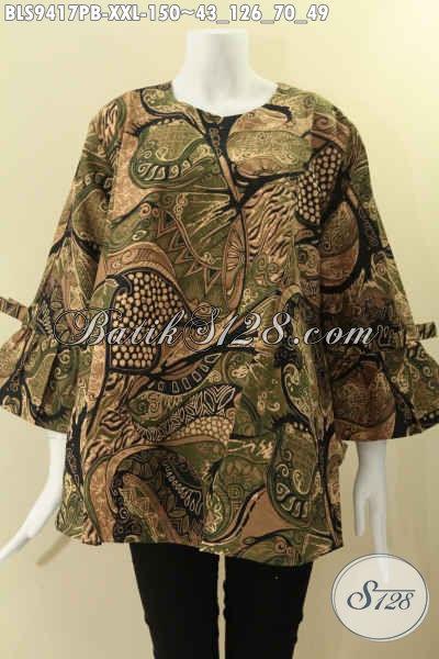 Busana Batik Kerja Big Size Spesial Untuk Wanita Gemuk, Blouse Batik Model Kancing Belakang Lengan 7/8 Di Lengkapi Pita, Tampil Trendy Dan Kekinian [BLS9417PB-XXL]
