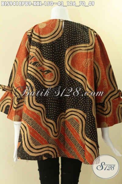 Jual Baju Batik Solo Spesial Buat Wanita Gemuk, Hadir Dengan Motif Bagus Jenis Print Cabut Kwalitas Istimewa Model Kancing Belakang Lengan 7/8 Dan Berpita  [BLS9418PB-XXL]