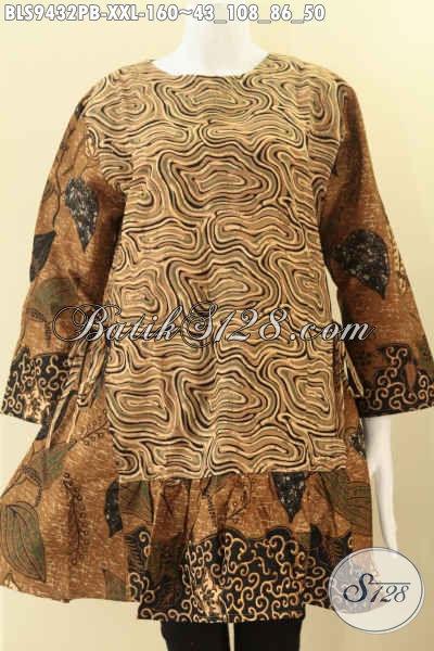 Toko Online Baju Batik Wanita Terlengkap Dan Up To Date, Sedia Blouse Batik Lengan 7/8 Dual Motif Bahan Halus Desain Resleting Belakang Di Lengkapi Tali Kanan Kiri Di Pinggang, Tampil Cantik Trendy Untuk Perempuan Gemuk [BLS9432PB-XXL]