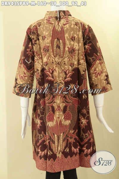 Dress Batik Modern Kerah Shanghai Lengan 7/8, Busana Batik Wanita Muda Untuk Tampil Cantik Berkelas Di Lengkapi Resleting Belakang Hanya 100 Ribuan [DR9435PB-M]