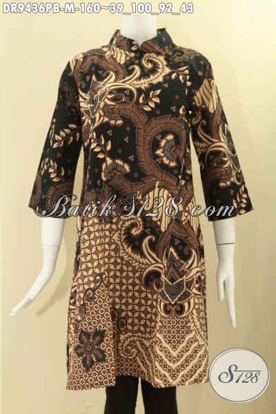 Dress Batik Motif Elegan Bahan Halus Nyaman Di Pakai, Busana Batik Wanita Terbaru Model Kerah Shanghai Resleting Belakang Lengan 7/8 Hanya 160K [DR9436PB-M]