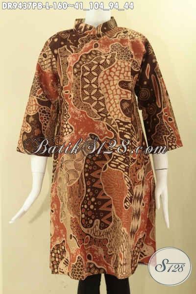 Dress Batik Wanita Terbaru, Busana Batik Modern Motif Bagus Bahan Halus Jenis Printing Cabut Model Resleting Belakang Lengan 7/8 Kerah Shanghai [DR9437PB-L]