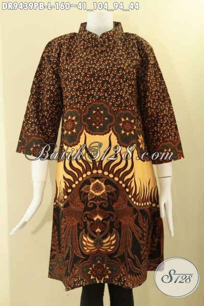 Jual Dress Batik Kerah Shanghai Modis Dan Elegan, Baju Batik Solo Nan Istimewa Model Resleting Belakang Lengan 7/8 Menunjang Penampilan Terlihat Anggun Menawan [DR9439PB-L]