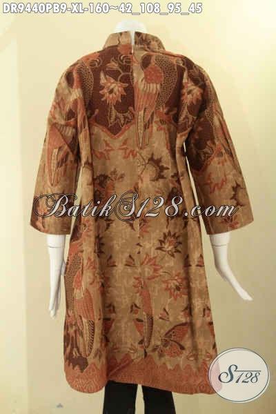 Dress Batik Kerja Wanita Karir, Baju Batik Elegan Untuk Acara Resmi, Pakaian Batik Perempuan Masa Kini Model Kerah Shanghai Lengan 7/8 Resleting Belakang [DR9440PB-XL]