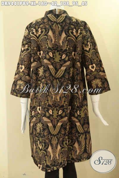 Dress Batik Wanita Dewasa Model Kerah Shanghai Lengan 7/8 Di Lengkapi Resleting Belakang, Bahan Motif Elegan Berbahan Halus Yang Nyaman Di Pakai [DR9441PB-XL]