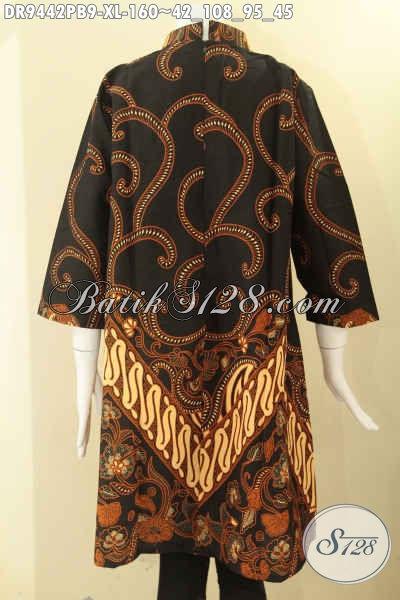 Dress Batik Perempuan Masa Kini, Baju Batik Elegan Model Kerah Shanghai Resleting Belakang Bahan Halus Lengan 7/8, Pas Banget Untuk Acara Resmi [DR9442PB-XL]