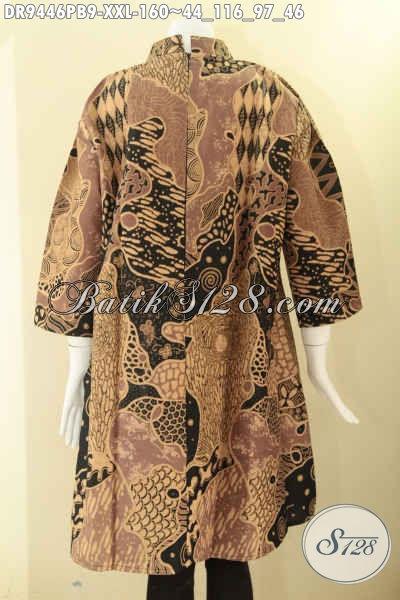Dress Batik Wanita Masa Kini Ukuran Jumbo, Baju Batik Cewek Gemuk Model Kerah Shanghai Resleting Belakang Dengan Lengan 7/8 Cocok Untuk Acara Santai Maupun Resmi [DR9446PB-XXL]