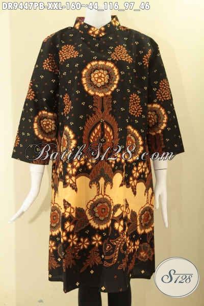 Dress Batik Wanita Gemuk Tren Masa Kini Kwalitas Istimewa Model Kerah Shanghai Resleting Belakang Dan Lengan 7/8, Cocok Banget Untuk Kerja Maupun Acara Resmi [DR9447PB-XXL]
