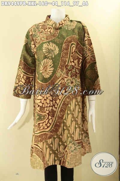 Koleksi Terbaru Busana Batik Dress Masa Kini Motif Bagus Spesial Untuk Wanita Gemuk, Baju Batik Jumbo Model Kerah Shanghai Resleting Belakang Lengan 7/8 Nan Berkelas [DR9449PB-XXL]