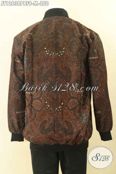 Jaket Batik Pria Kekinian Model Bomber, Batik Jaket Modern Kwalitas Bagus Bahan Halus Motif Elegan Daleman Full Furing Dormeuil Nan Berkelas [JT12638PBF-M]