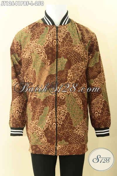 Toko Batik Online Khas Jawa Tengah Koleksi Terlengkap, Jual Jaket Bomber Bahan Batik Halus Motif Elegan Jenis Print Cabut Daleman Full Furing Dormeuil Nan Mewah [JT12641PBF-L]