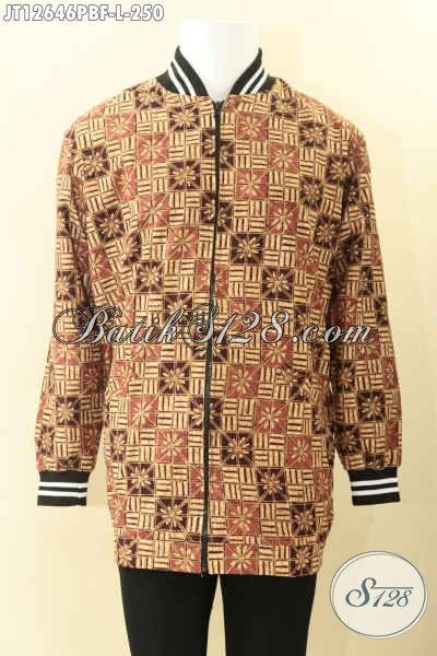 Jual Jaket Batik Solo Modis Model Bomber Khas Jokowi, Jaket Halus Pakai Furing Mewah Dormeuil Yang Biasa Di Pakai Untuk Jas, Tampil Terlihat Trendy [JT12646PBF-L]