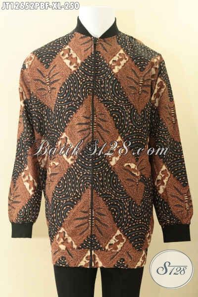 Jaket Batik Pria Halus Full Furing Dormeuil Motif Elegan, Batik Jaket Kekinian Model Bomber Kwalitas Istimewa Spesial Buat Lelaki Dewasa [JT12652PBF-XL]