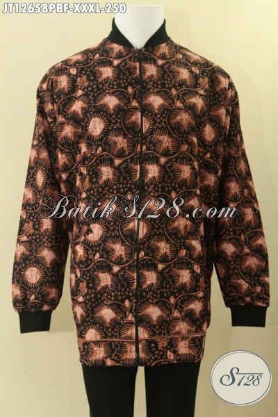 Koleksi Terkini Jaket Batik Model Bomber Khas Solo Motif Elegan Proses Printing Cabut, Jaket Mewah Dengan Daleman Furing Dormeuil Yang Biasa Untuk Jas, Spesial Buat Yang Berbadan Gemuk Sekali [JT12658PBF-XXXL]