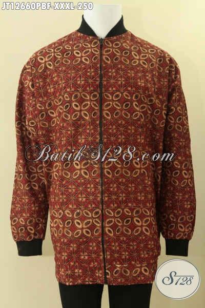 Jaket Batik Pria Gemuk Model Bomber Kwalitas Istimewa Daleman Pakai Furing Dormeuil Yang Biasa Di Pakai Jas, Cocok Untuk Acara Resmi Maupun Santai [JT12660PBF-XXXL]