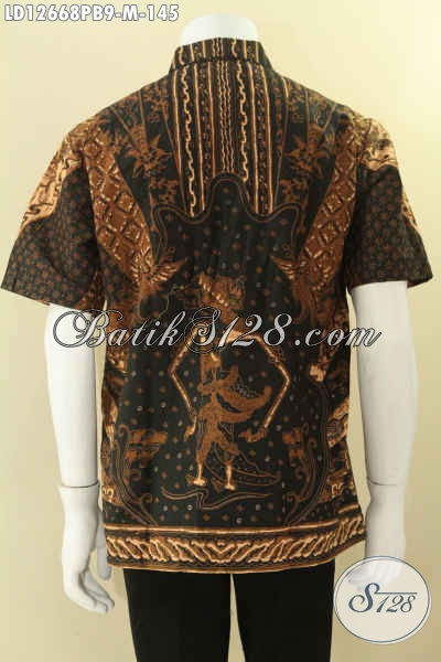 Jual Online Kemeja Lengan Pendek  Batik Solo Modis Bahan Halus Motif Elegan Kwalitas Bagus Jenis Print Cabut, Cocok Untuk Ngantor Dan Kondangan [LD12668PB-M]