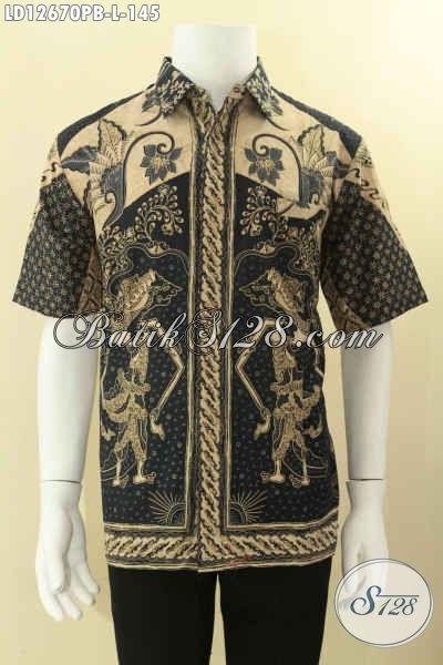 Jual Baju Batik Solo Masa Kini Model Lengan Pendek, Busana Batik Desain Keren Motif Terbaru Jenis Print Cabut Hanya 100 Ribuan, Cocok Untuk Acara Resmi [LD12670PB-L]