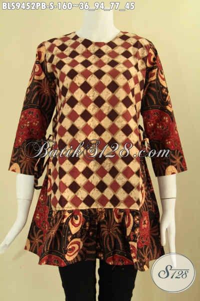 Blouse Batik Lengan 7/8 Kombinasi 2 Motif, Pakaian Batik Wanita Muda Nan Trendy Desain Berkelas Pakai Resleting Belakang Dan Tali Pinggang Kanan Kiri, Bisa Untuk Kerja Dan Acara Resmi [BLS9452PB-S]