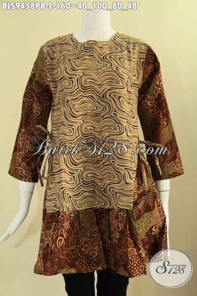 Pakaian Batik Wanita Model Lengan 7/8 Kwalitas Istimewa, Blouse Batik 2 Motif Resleting Belakang Di Lengkapi Tali Di Bagian Pinggang Kanan Kiri, Tampil Lebih Modis Dan Trendy [BLS9458PB-L]