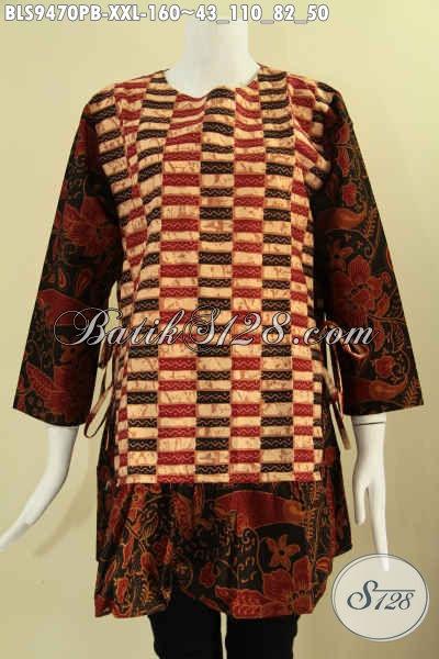Pusat Baju Batik Solo Online Terlengkap Dan Up To Date, Sedia Blouse Batik Jumbo Kombinasi 2 Motif Model Resleting Belakang Lengan 7/8 Bertali Di Bagian Kanan Kiri, Spesial Buat Wanita Gemuk [BLS9470PB-XXL]