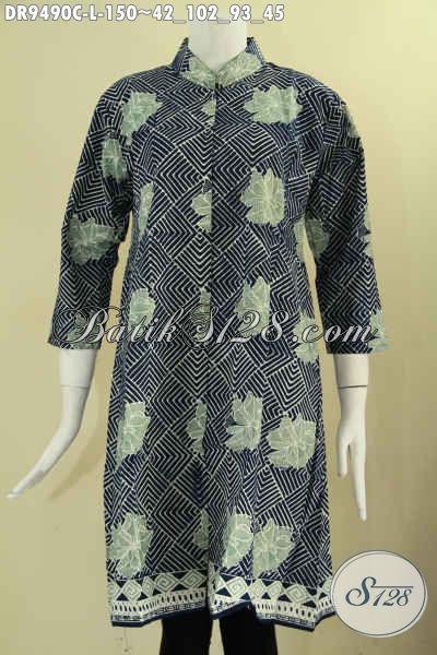 Jual Online Dress Batik Untuk Wanita Muda Maupun Dewasa, Baju Batik Keren Kwalitas Bagus Model Kerah Shanghai Lengan 7/8 Kancing Depan, Cocok Untuk Kerja Kantoran [DR9490C-L]