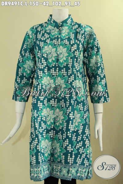 Dress Batik Solo Hadir Dengan Warna Trendy Berpadu Motif Keren Kekinian, Baju Batik Wanita Untuk Acara Santai Dan Pesta Model Kerah Shanghai Lengan 7/8 Kancing Depan [DR9491C-L]