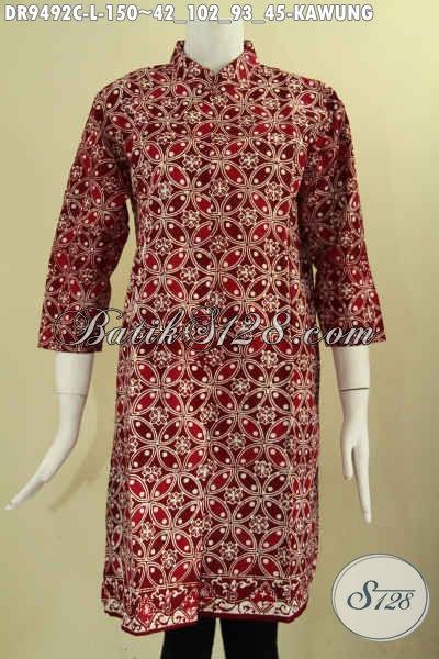 Dress Batik Motif Kawung Dengan Warna Modern Nan Berkelas, Busana Batik Elegan Model Kerah Shanghai Lengan 7/8 Pakai Kancing Depan, Bikin Penampilan Terlihat Mewah [DR9492C-L]