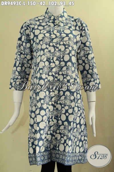 Dress Batik Model Kerah Shanghai Lengan 7/8, Busana Batik Wanita Masa Kini Di Lengkapi Kancing Depan Untuk Tampil Cantik Dan Elegan Hanya 100 Ribuan [DR9493C-L]