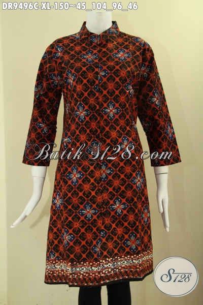 Busana Batik Dress Buatan Solo Model Kerah Shanghai, Baju Batik Wanita Terbaru Lengan 7/8 Pakai Kancing Depan, Cocok Untuk Kerja Maupun Kondangan [DR9496C-XL]