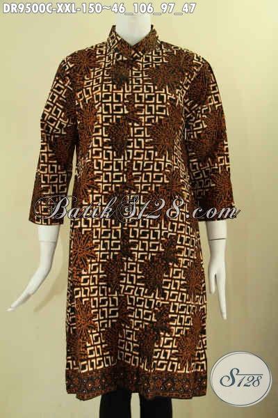 Dress Batik Solo Motif Terbaru Desain Elegan Kerah Shanghai Kancing Depan Lengan 7/8, Berbahan Halus Dan Adem Yang Nyaman Di Pakai [DR9500C-XXL]