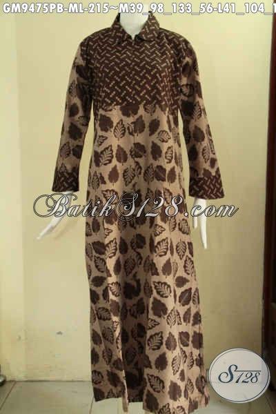 Aneka Baju Gamis Wanita Terbaru Bahan Batik Solo Asli, Busana Syar'i Yang Menunjang Penampilan Lebih Berkelas Model Kerah Bulat Pakai Resleting Depan Dan Dengan Kombinasi 2 Motif [GM9475PB-M]