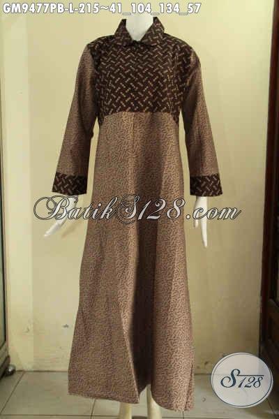 Jual Gamis Batik Solo Istimewa Model Kerah Bulat Kwalitas Bagus Kombinasi 2 Motif, Pakaian Batik Wanita Berjilbab Dengan Resleting Depan Lebih Modis Dan Kekinian [GM9477PB-L]