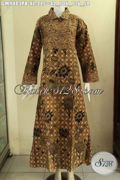 Jual Baju Gamis Model Kerah Bulat, Pakaian Batik Wanita Muslimah Nan Elegan Dan Berkelas Dengan Kombinasi 2 Motif Terkini Di Lengkapi Resleting Depan [GM9483PB-XL]