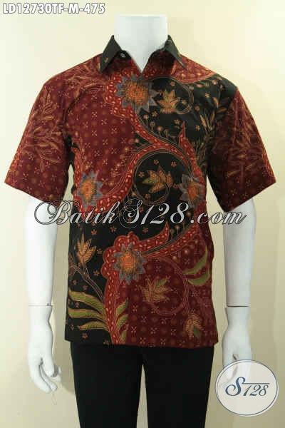 Kemeja Batik Kerja Jenis Tulis Model Lengan Pendek Untuk Pria Muda, Baju Batik Halus Motif Terbaru Daleman Full Furing, Tampil Gagah Berkelas [LD12730TF-M]