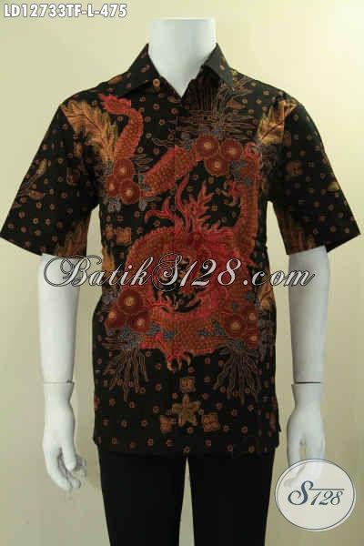 Baju Batik Kondangan Cowok Model Lengan Pendek, Kemeja Batik Pria Jenis Tulis Nan Mewah Motif Elegan Daleman Full Furing Hanya 400 Ribuan Saja [LD12733TF-L]