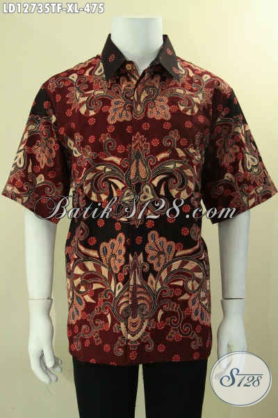 Busana Batik Tulis Lengan Pendek Untuk Pria Dewasa, Kemeja Batik Premium Khas Solo Di Lengkapi Lapisan Furing Yang Memberi Kesan Eksklusif [LD12735TF-XL]