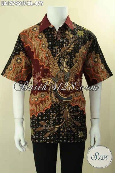 Produk Busana Batik Solo Lengan Pendek Motif Bagus Bahan Halus Kwalitas Premium Motif Bagus Proses Tulis Daleman Pakai Furing [LD12739TF-XL]