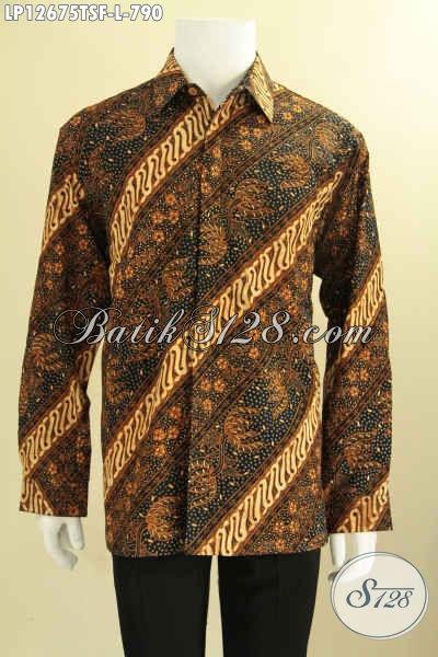 Kemeja Batik Premium Khas Pejabat, Busana Batik Mewah Lengan Panjang Motif Klasik Jenis Tulis Soga Daleman Full Furing, Penampilan Terlihat Gagah Berwibawa [LP12675TSF-L]